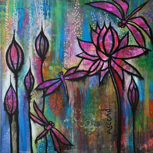 There is a quote from Thich Nhat Hanh - No Mud, No Lotus.   I'd like to add, No mud , No Dragonfly.   These two things remind us that beauty and strength rises from diversity.   Hold tight my dear, your turn will come .   $200 SOLD
