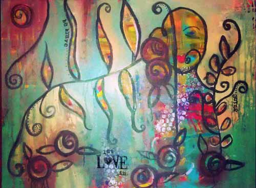 This is a manifestation of my desire to be whole and complete in my love for those around me. My desire to 'let love in', to not be scared in the face of love and connection with the outer world   Acrylic on canvas  Sold