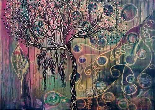 Tree of Life is a representation of life and our deep connection to it. Full of seed pods and crowded with branches and new life this painting evokes feelings of abundance and possibility.  Acrylic; texture paste; on canvas  60cm W x 90cm H  $350 SOLD
